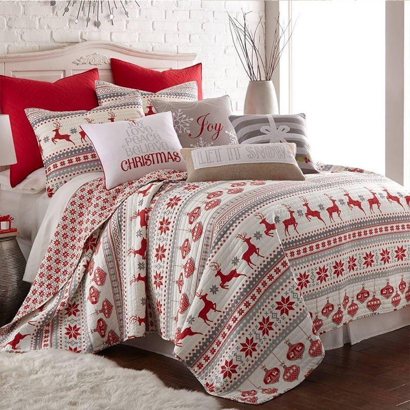 100%polyester printed quilt set