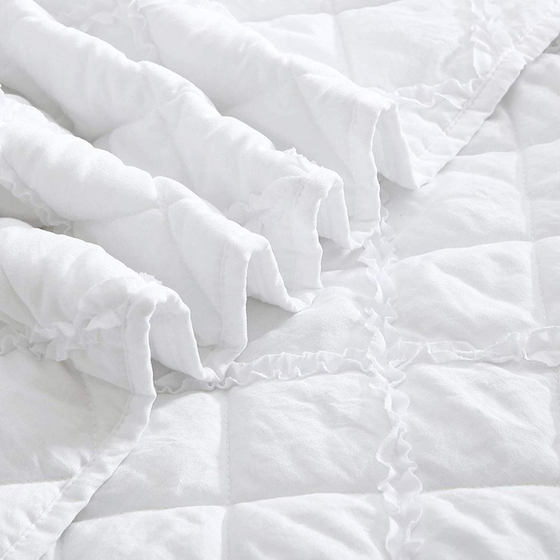 pure white garment washed quilt set