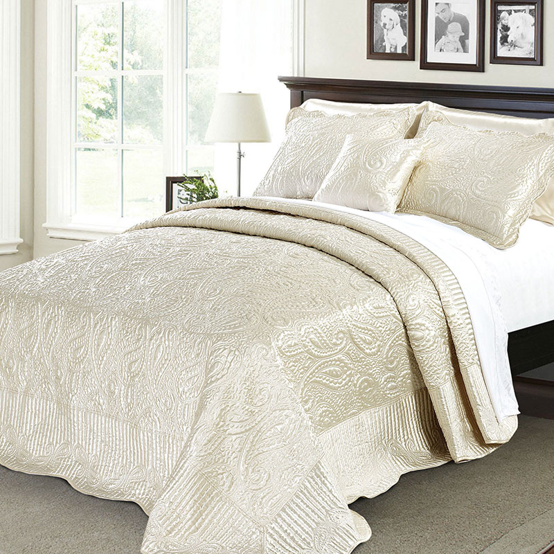 paisley embroidery bedspread silk quilted coverlet