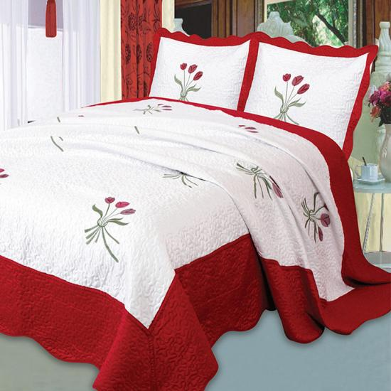 oversized queen flower embroidery bedspread