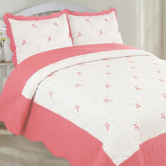Flower Embroidered Quilt Set