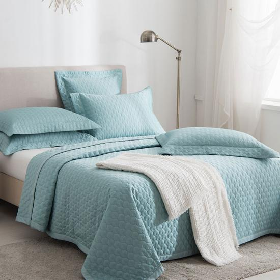 washed satin quilted bedspread