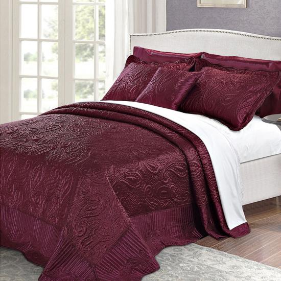 paisley embroidery quilt set