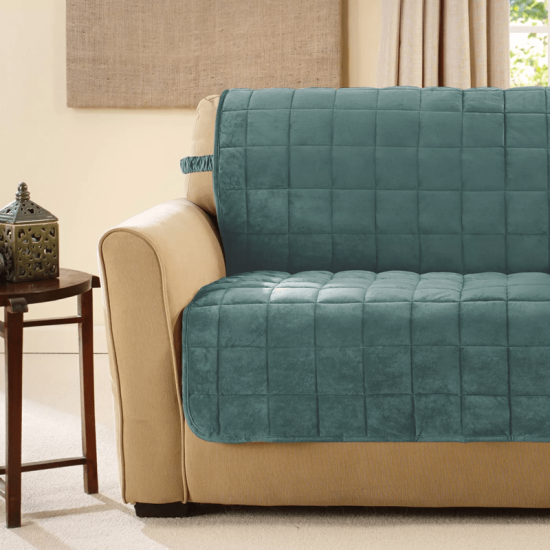 quilted solid sofa cover