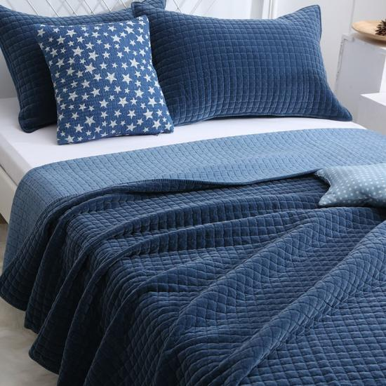 solid flannel quilted bedding set
